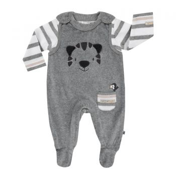Jacky Baby Strampler mit Shirt Wild Jungle Nicki, grau, Gr. 50-74